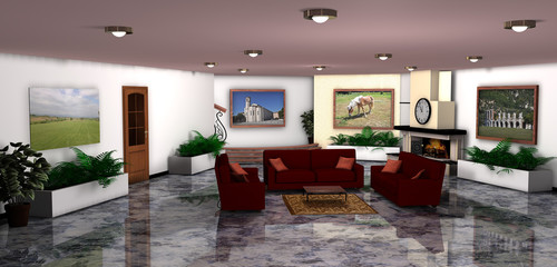 Sala con poltrone rosse-room with red armchairs