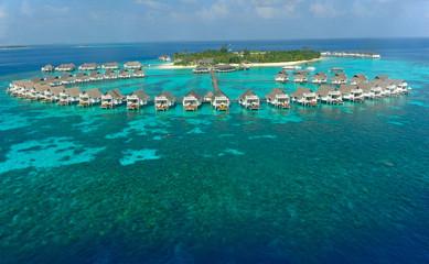 maldives island and water villa