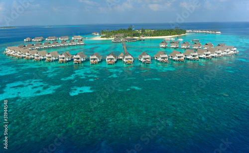 maldives island and water villa
