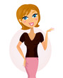 Happy business woman showing something. VECTOR