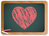 Blackboard with Heart  written with Chalk
