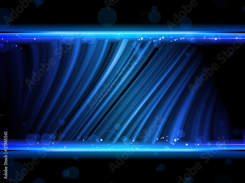 Disco Abstract Blue Waves on Black Background