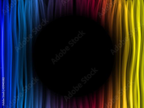 Abstract Rainbow Lines Background with Black Circle