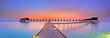 Leinwanddruck Bild - Maldives bungalows sunset panorama