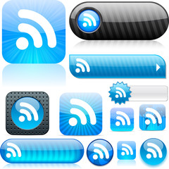 Rss blue high-detailed icons.