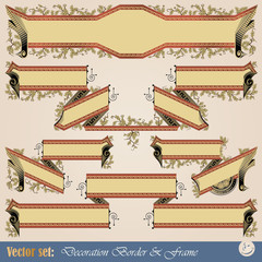 Vector set: Border ribbon for decoration and design