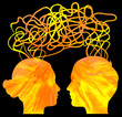 Abstract yellow silhouette of couple heads thinking, relationshi