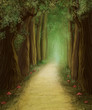 magic dark forest road, digital painting