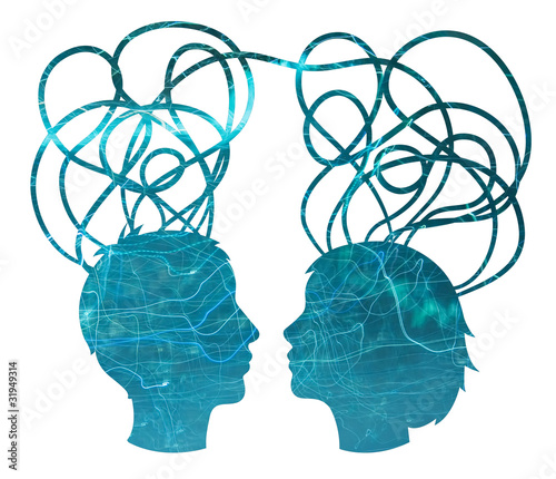 Abstract blue silhouette of couple heads, friendship concept