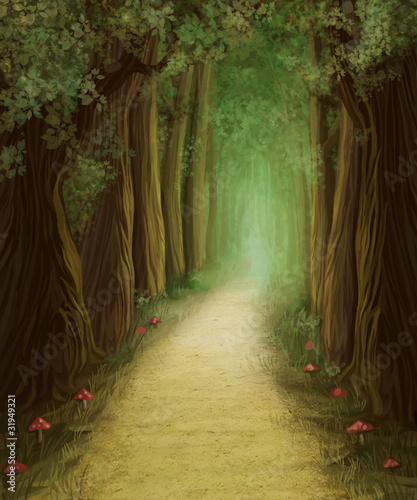 magic dark forest road, digital painting