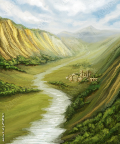 valley with river landscape and little town, digital painting