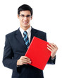 Smiling happy young business man with red folder, isolated