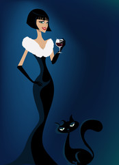 elegance woman and cat