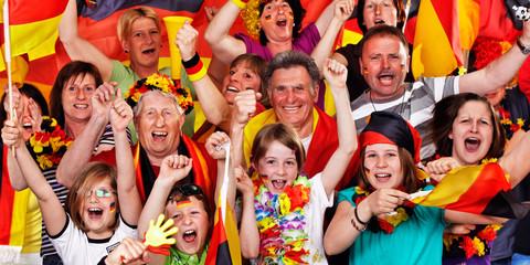 exultant german soccer fans