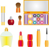 Collection of female accessories of beauty on white background.