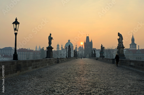 Sunrise in Prague, view from the Charles Bridge