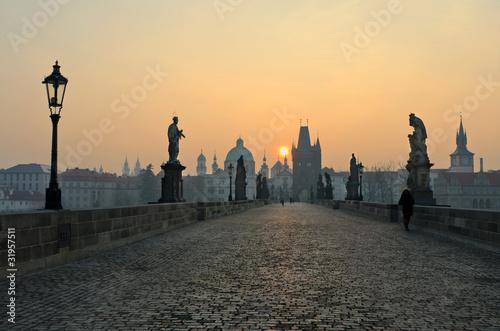 Aluminium Praag Sunrise in Prague, view from the Charles Bridge