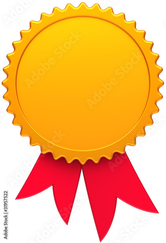 Award medal blank golden with red ribbon. Winner badge