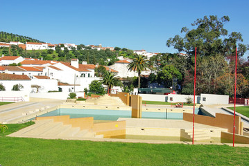 Landscape of Portuguese village and swimming pool.