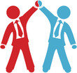 Business people celebrate deal agreement success