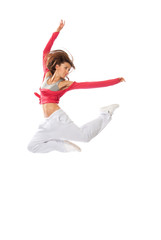 Dancer woman jumping hip-hop style