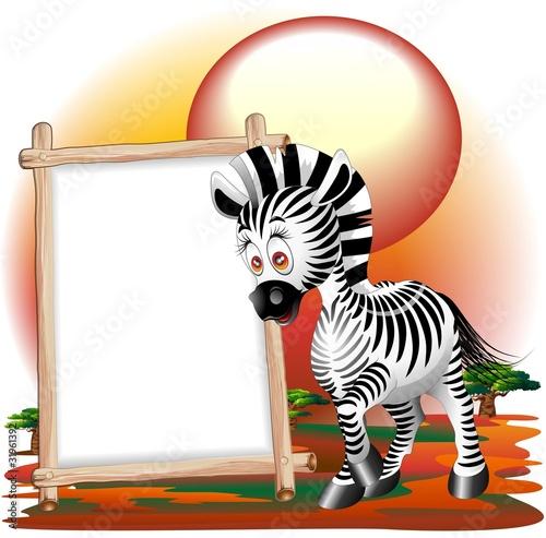 Zebra Cartoon con Pannello-Zebra Savannah Background-Vector
