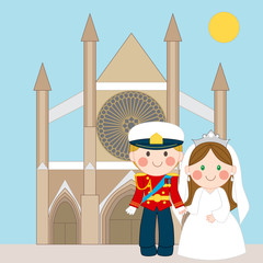Prince and Princess in front of church after wedding