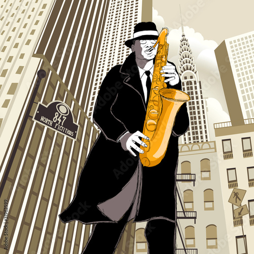saxophone player in a street © Isaxar