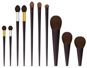 set of cosmetic brushes isolated on white