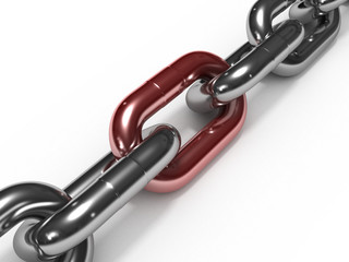 Iron chain with red link