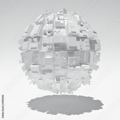 Sphere with abstract geometric shapes