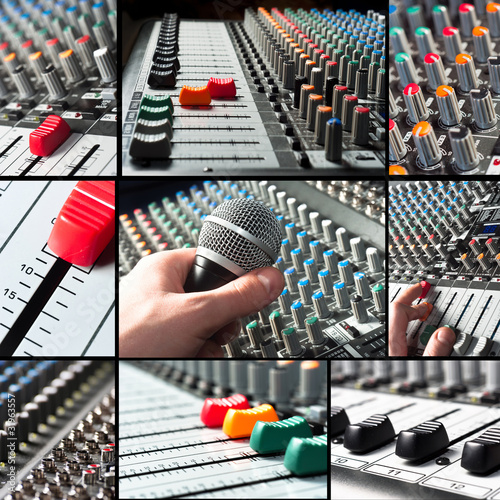 Audio mixer tileset with microphone and sliders