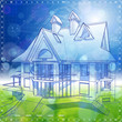 Ecology architecture design: house, plans & blue-green bokeh bac