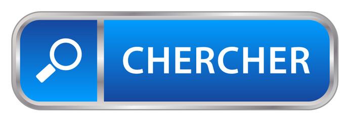 "Bouton Web ""CHERCHER"" (internet moteur rechercher en ligne bleu)"