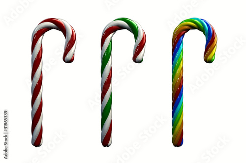 Multicolored candy canes ,3d illustration , isolated on white