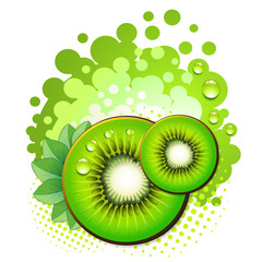 Kiwi slices with abstract background