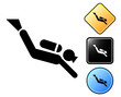 Diver pictogram and signs