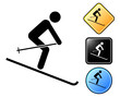 Ski pictogram and signs
