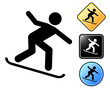Snowboarding pictogram and signs
