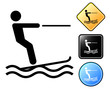Water skiing pictogram and signs