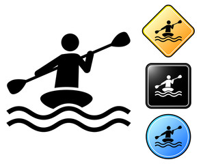 Kayak pictogram and signs