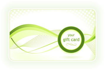 Beautiful gift / business card with wavy pattern in green