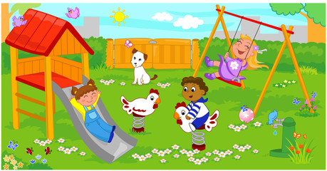 Bambini felici al parco giochi.