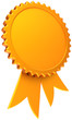 Award ribbon blank total golden. Shiny winner medal icon