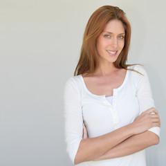 Beautiful woman standing on white background