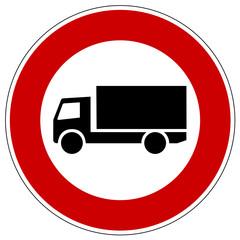 Einfahrt verboten für Lkws,  Verkehrsschild
