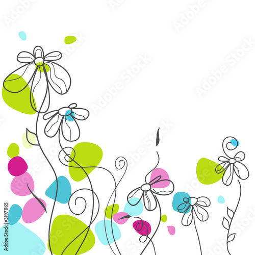 In de dag Abstract bloemen Floral greeting card