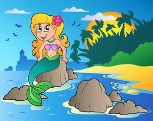 Seascape with cartoon mermaid