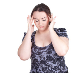 suffering from  pain - young fat woman with headache