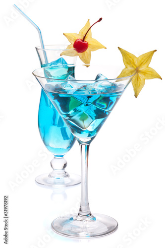 Two blue tropical cocktails